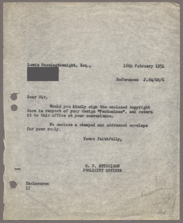 Related object: Letter; from Harold Hutchison to Lewin Bassingthwaight requesting a signature on the copyright form, 16 February 1951