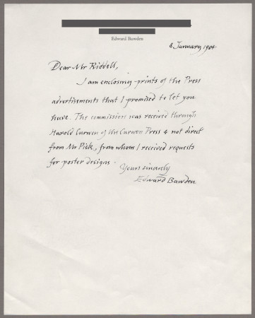Related object: Letter; from Edward Bawden to Jonathan Riddell about his work, 31 December 1983