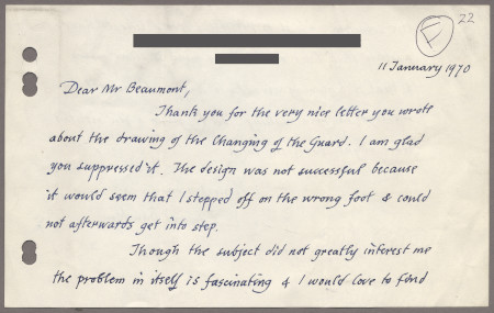 Related object: Letter; from Edward Bawden to Bryce Beaumont about the poster design, 11 January 1970