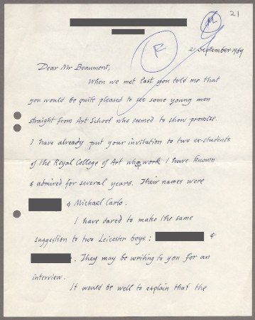 Related object: Letter; from Edward Bawden to Bryce Beaumont recommending two students and progress on the poster design, 21 September 1969