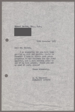 Related object: Letter; from Bryce Beaumont to Edward Bawden about progress on the poster design, 19 November 1969