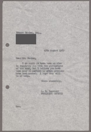 Related object: Letter; from Bryce Beaumont to Edward Bawden about a poster design, 19 August 1969