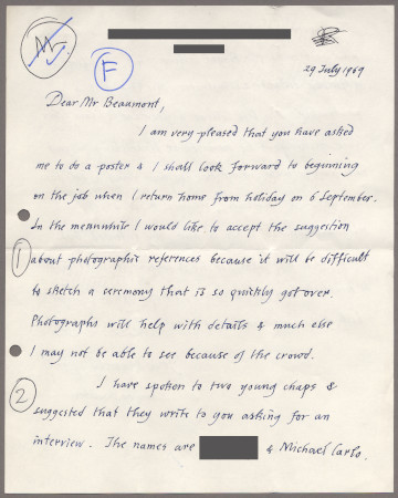 Related object: Letter; from Edward Bawden to Bryce Beaumont about a poster design and recommending Michael Carlo, 29 July 1969