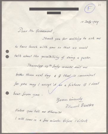 Related object: Letter; from Edward Bawden to Bryce Beaumont about a possible future poster design, 13 July 1969
