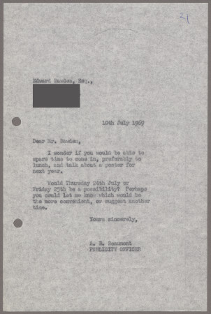Related object: Letter; from Bryce Beaumont to Edward Bawden about a possible future poster design, 10 July 1969