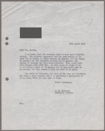 Related object: Letter; from Bryce Beaumont to Edward Bawden about payment for his Vicotria Line motifs, 14 April 1969