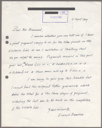 Related object: Letter; from Edward Bawden to Bryce Beaumont about payment for his Victoria Line motifs, 13 April 1969