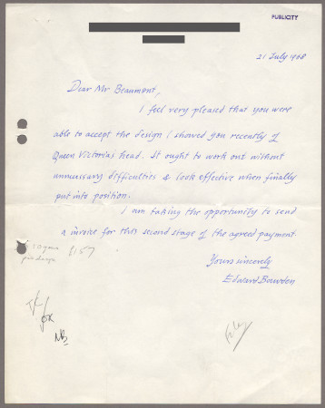 Related object: Letter; from Edward Bawden to Bryce Beaumont about his desgin of Queen Victoria for the Victoria Line, 21 July 1968