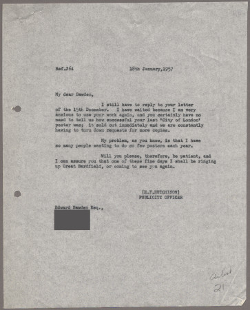 Related object: Letter; from Harold Hutchison to Edward Bawden about the possibility of future work, 18 January 1957