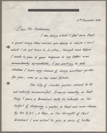 Related object: Letter; from Edward Bawden to Harold Hutchison about the possibility of future work, 15 December 1956
