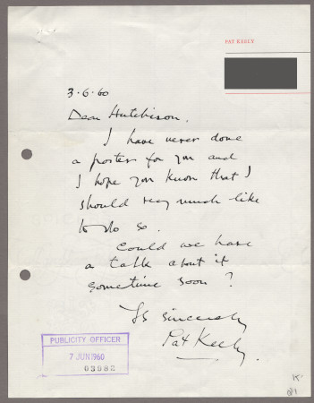Related object: Letter; from Pat Keely to Harold Hutchison about future work, 3 June 1960