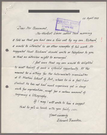 Related object: Letter; from Edward Bawden to Bryce Beaumont about a commission by Richard Bawden, 25 April 1955