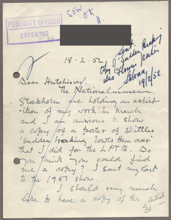 Related object: Letter; from Pat Keely to Harold Hutchison requesting a copy of his poster for an exhibition in Stockholm, 19 February 1952