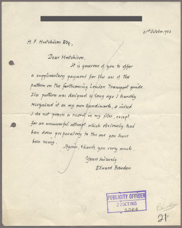 Related object: Letter; from Edward Bawden to Harold Hutchison about using a design for a new guide book, 21 October 1953