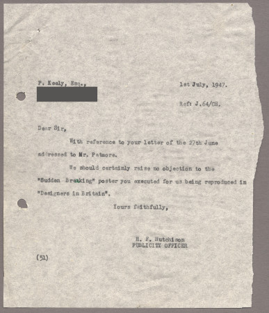 Related object: Letter; from Harold Hutchison to Pat Keely about permission to reproduce his poster, 1 July 1947