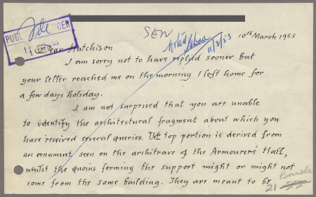 Related object: Letter; from Edward Bawden to Harold Hutchison about City poster, 10 March 1953