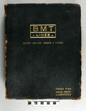 Photograph album; erecting shops and works of the brooklyn-manhattan transit system, presented to frank pick, brooklyn-manhattan transit system, 1928