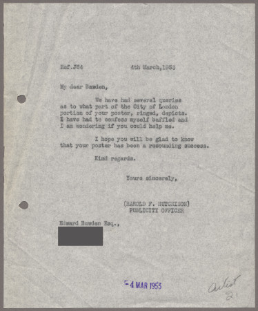 Related object: Letter; from Harold Hutchison to Edward Bawden about City poster, 4 March 1953