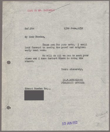Related object: Letter; from Harold Hutchison to Edward Bawden about City poster, 13 June 1952