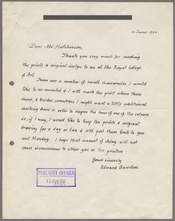 Related object: Letter; from Edward Bawden to Harold Hutchison about City poster, 12 June 1952