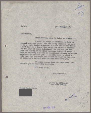 Related object: Letter; from Harold Hutchison to Edward Bawden about City poster, 30 November 1951