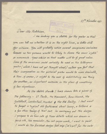 Related object: Letter; from Edward Bawden to Harold Hutchison, 27 November 1951