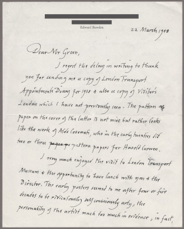 Related object: Letter; from Edward Bawden to Oliver Green, 22 March 1984