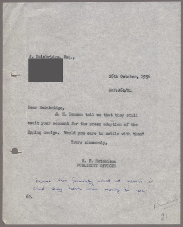 Related object: Letter; from Harold Hutchison to John Bainbridge about the Epping poster, 26 October 1956