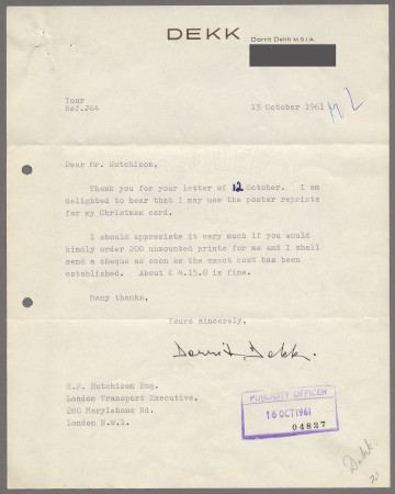 Related object: Letter; from Dorrit Dekk to Harold Hutchison, 13 Oct 1961