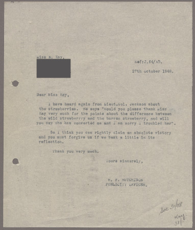 Related object: Letter; from Harold Hutchison to Nora Kay about her posters, 27 October 1948