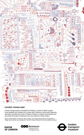 Poster; london moves east (blue and red), by andrew wallace, ian stewart, james lambert, jane findlay, melissa herman, michelle brown, morgan dye and oliver lord, 2010