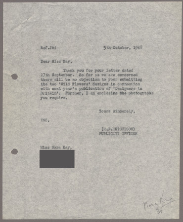 Related object: Letter; from Harold Hutchison to Nora Kay about an submitting her designs for a book, 5 October 1948