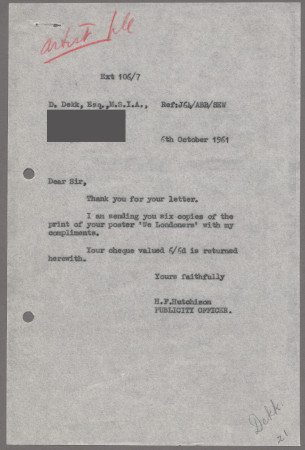 Related object: Letter; from Harold Hutchison to Dorrit Dekk, 6 Oct 1961