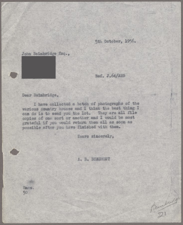 Related object: Letter; from Bryce Beaumont to John Bainbridge about the Country Houses poster, 5 October 1956