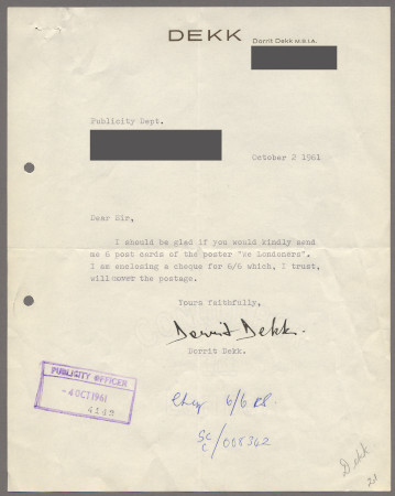 Related object: Letter; from Dorrit Dekk to publicity department, 2 Oct 1961