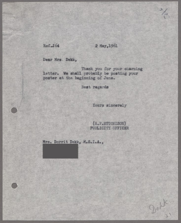 Related object: Letter; from Harold Hutchison to Dorrit Dekk, 2 May 1961
