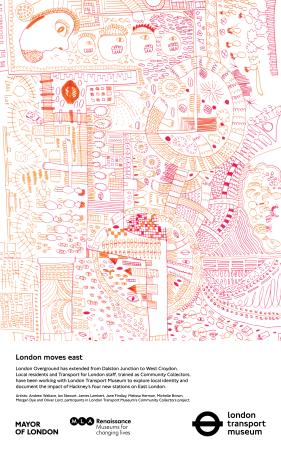 Poster; london moves east (orange), by andrew wallace, ian stewart, james lambert, jane findlay, melissa herman, michelle brown, morgan dye and oliver lord, 2010