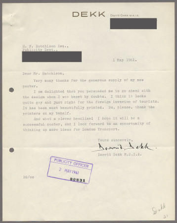 Related object: Letter; from Dorrit Dekk to Harold Hutchison, 1 May 1961