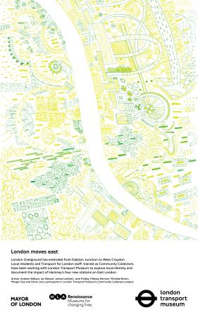 Poster; london moves east (green), by andrew wallace, ian stewart, james lambert, jane findlay, melissa herman, michelle brown, morgan dye and oliver lord, 2010