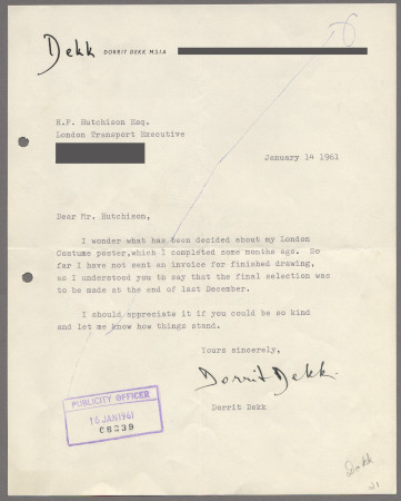 Related object: Letter; from Dorrit Dekk to Harold Hutchison, 14 Jan 1961