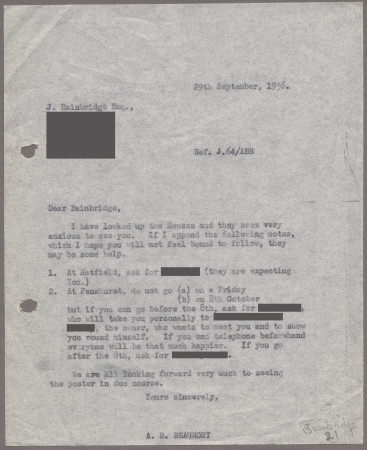 Related object: Letter; from Bryce Beaumont to John Bainbridge with information about visiting the houses, 29 September 1956