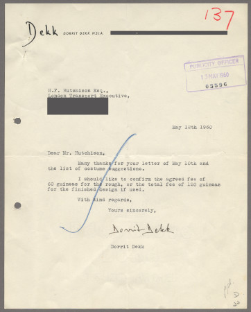 Related object: Letter; from Dorrit Dekk to Harold Hutchison, 12 May 1960