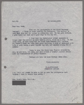 Related object: Letter; from Harold Hutchison to Dorrit Dekk, 13 Oct 1960
