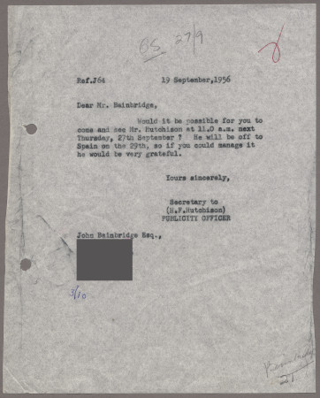 Related object: Letter; from Harold Hutchison to John Bainbridge requesting an appointment, 19 September 1956