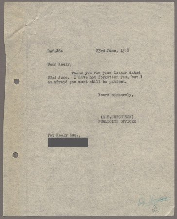 Related object: Letter; from Harold Hutchison to Pat Keely about future work, 23 June 1948