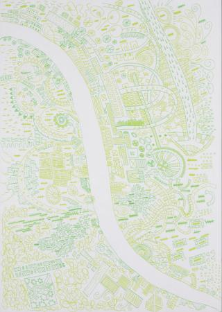 Poster artwork; london moves east (green), by andrew wallace, ian stewart, james lambert, jane findlay, melissa herman, michelle brown, morgan dye and oliver lord, 2010