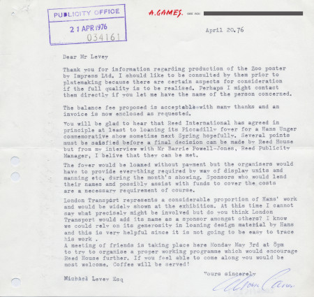 Related object: Letter; from Abram Games to Michael Levey re Zoo poster and Hans Unger exhibition, 20 April 1976