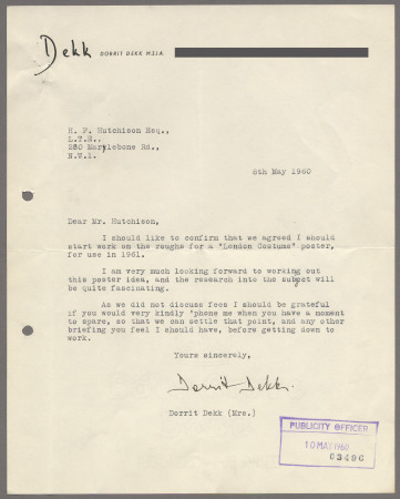 Related object: Letter; from Dorrit Dekk to Harold Hutchison, 8 May 1960