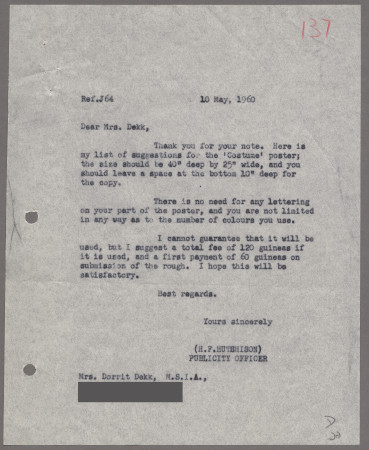 Related object: Letter; from Harold Hutchison to Dorrit Dekk, 10 May 1960