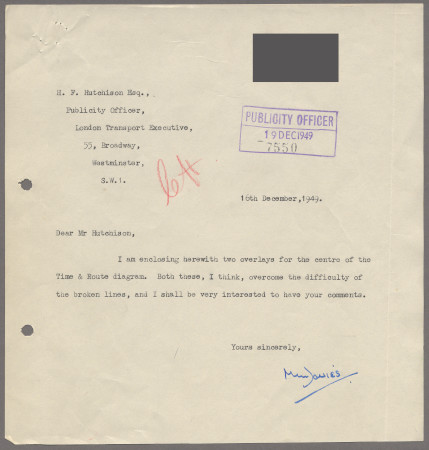 Related object: Letter; from M Davies to Harold Hutchison, 16 Dec 1949